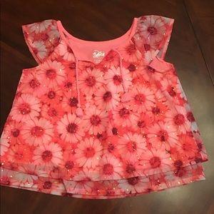 Girls Justice Pink Daisy Shirt, 12, EUC